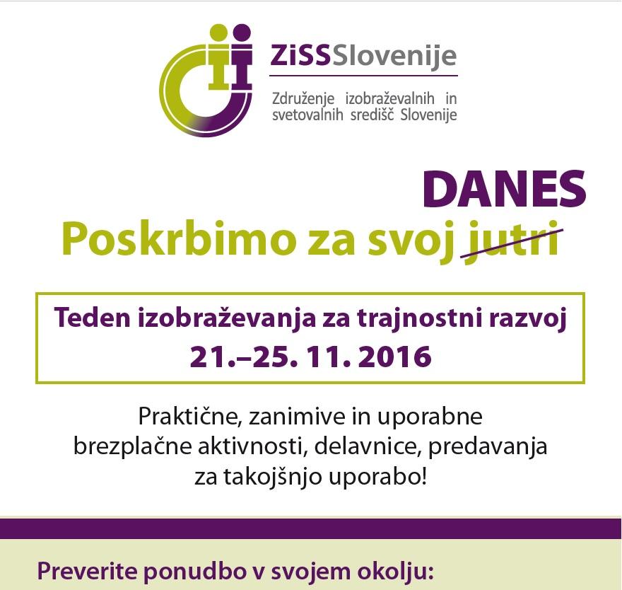 Teden izobraževanja za trajnostni razvoj od 21. do 25. novembra 2016